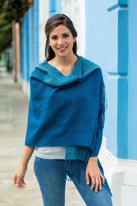 Artisan Crafted 100% Baby Alpaca Blue Shawl from Peru 'Andean Grace'
