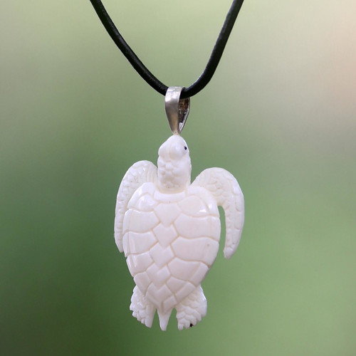 Hand Crafted White Turtle Pendant on Leather Cord Necklace 'White Turtle'