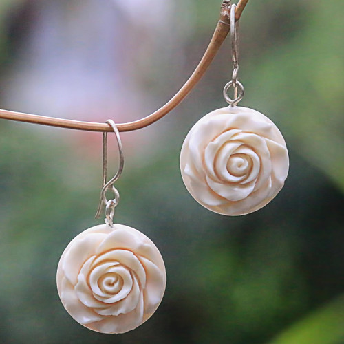 White Rose Dangle Earrings Hand Carved of Bone 'Glorious Rose'