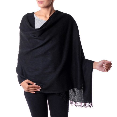 Fair Trade Solid Black 100% Wool Shawl from India 'Dark Fantasy'