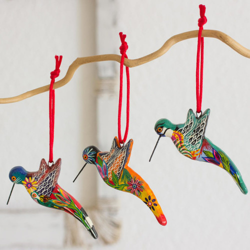 6 Ceramic Ornaments Hummingbird Handcrafted in Guatemala 'Hummingbird Squadron'
