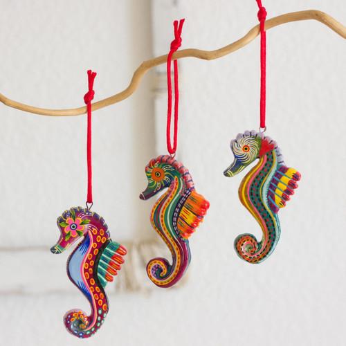 Set of 6 Ceramic Seahorse Ornaments Handmade in Guatemala 'Seahorse Squadron'