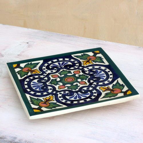 Guatemalan Handcrafted Ceramic Colonial Hot Pad Trivet 'Colonial Fountain'