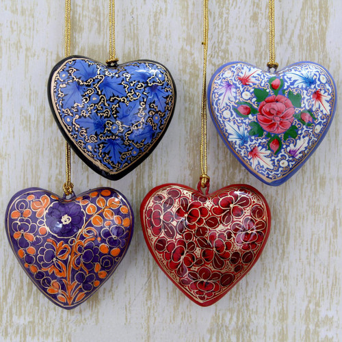 4 Artisan Crafted Papier Mache Ornaments Flower Hearts Set 'Bouquet of Hearts'
