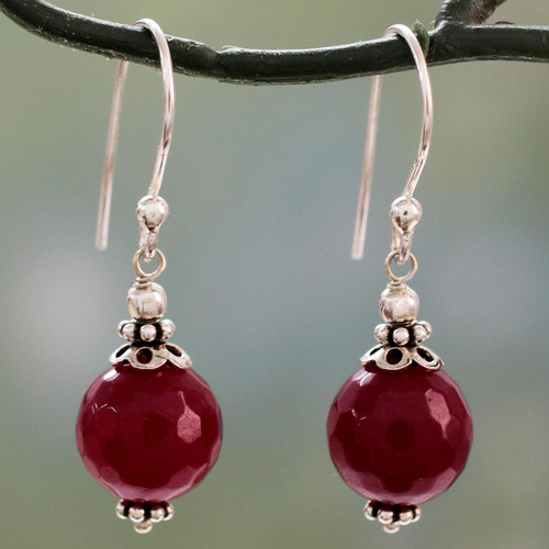 Red Agate Artisan Crafted Sterling Silver Earrings 'Glorious Red'