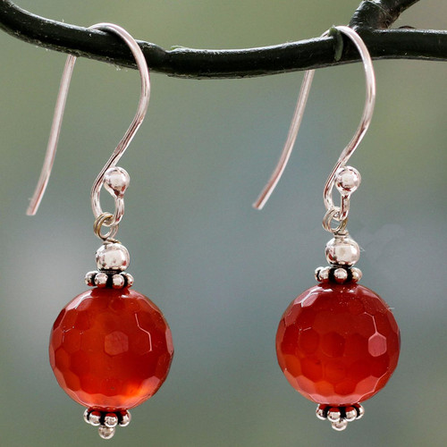 Faceted Carnelian Dangle Earrings with Sterling Silver 'Glorious Sunset'