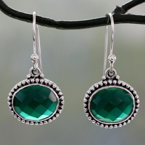 Lush Green Onyx on Sterling Silver Earrings from India 'Green Transformation'