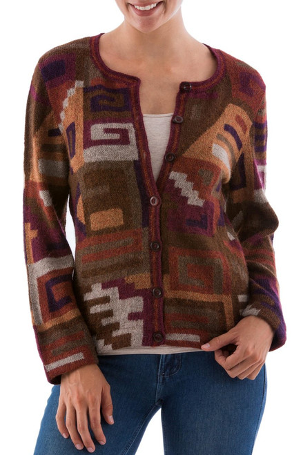 Peruvian 100% Alpaca Cardigan with Multicolor Inca Glyphs 'Inca Grand Dame'