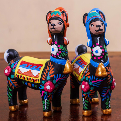 Artisan Crafted Colorful Ceramic Llama Statuettes (Pair) 'Llama Couple in Black'