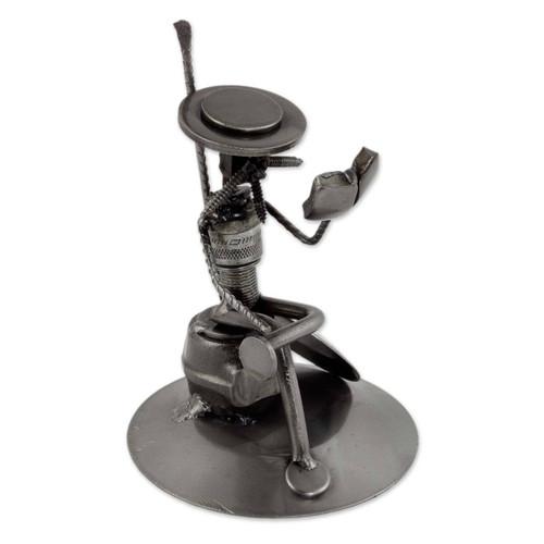 Eco Friendly Spark Plug Don Quixote Sculpture from Mexico 'Quixote Reads Cervantes'