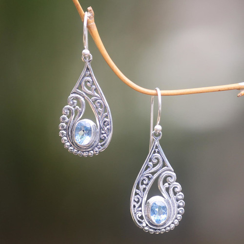 Artisan Crafted Blue Topaz and Sterling Silver Earrings 'Blue Tendrils'
