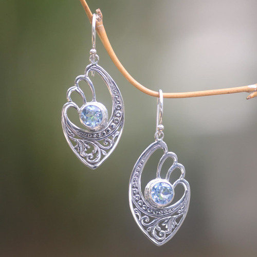 Handmade Blue Topaz and Sterling Silver Dangle Earrings 'Blue Wings'