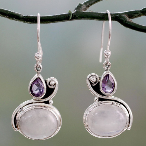Hand Crafted Moonstone and Amethyst Dangle Earrings 'Glistening Beauty'