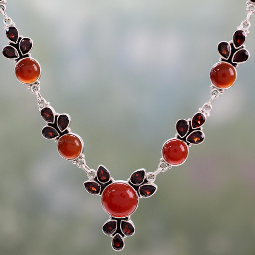 Hand Crafted Carnelian and Garnet Sterling Silver Necklace 'Rosy Blossom'