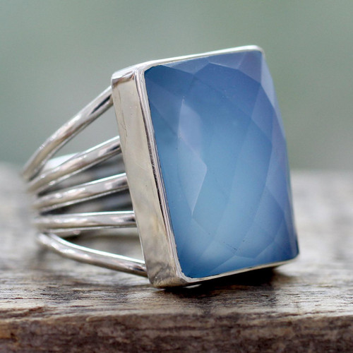 Artisan Crafted Chalcedony and Sterling Silver Cocktail Ring 'Sky Reflection'