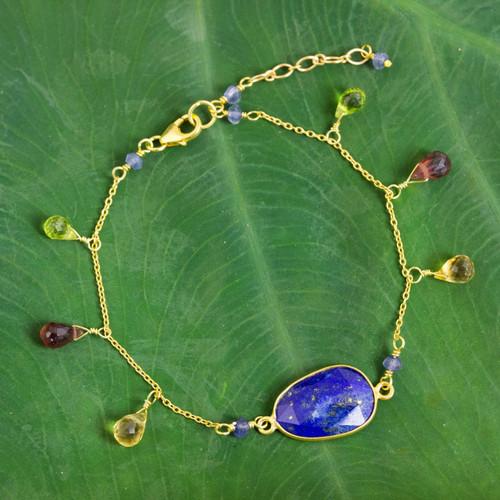 Gold Plated Sterling Silver Lapis Lazuli Bracelet Thailand 'Lush Garden'