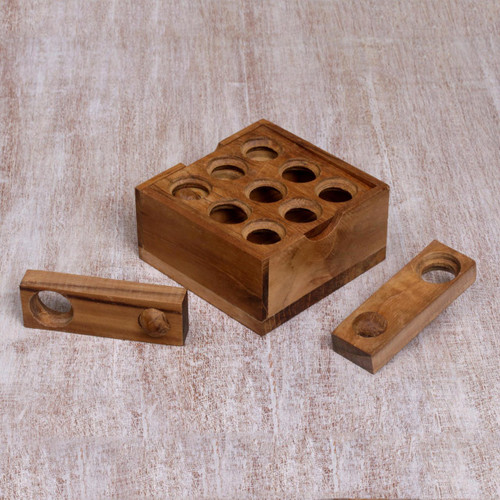 Artisan Crafted Upcycled Teakwood Puzzle from Java 'Target'