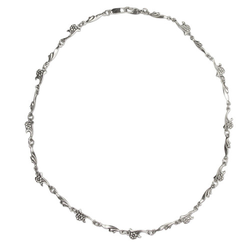 Artisan Crafted Sterling Silver Floral Chain Necklace 'Petite Floral Garland'