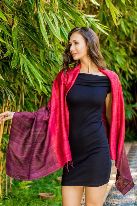 Artisan Crafted 100% Silk Shawl with Fringe from Thailand 'Red Peony'