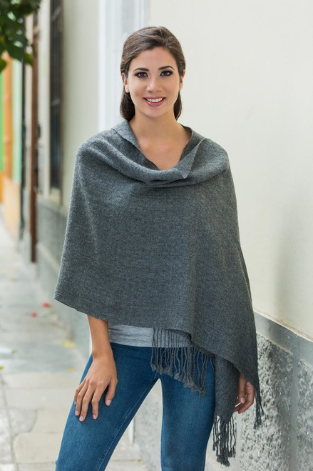 Backstrap Loom Handwoven Alpaca Shawl in Charcoal Grey 'Timeless in Charcoal'
