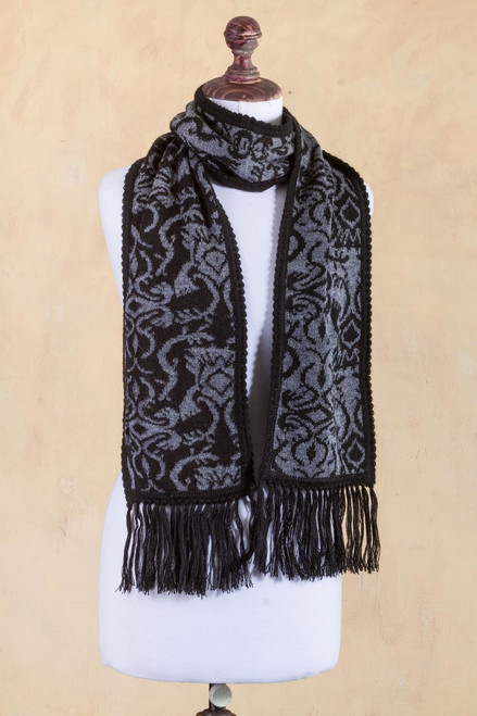 Alpaca Blend Reversible Floral Black and Grey Jacquard Scarf 'Licorice Grey'