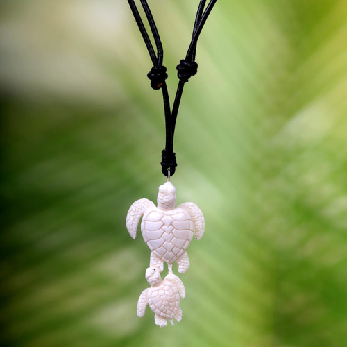 Handcrafted White Turtle Pendant and Leather Cord Necklace 'Swimming with Mother'