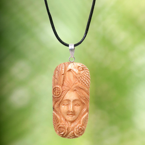 Carved Bone Pendant Necklace with Eagle Made in Indonesia 'Lady of the Woods'