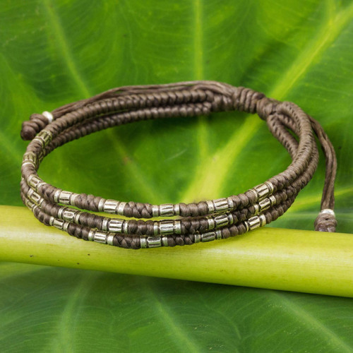 950 Silver Accent Wristband Braided Bracelet from Thailand 'Forest Thicket in Taupe'