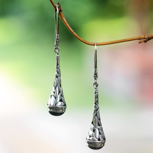 Handmade Onyx and Sterling Silver Earrings from Indonesia 'Gleaming Paddy'