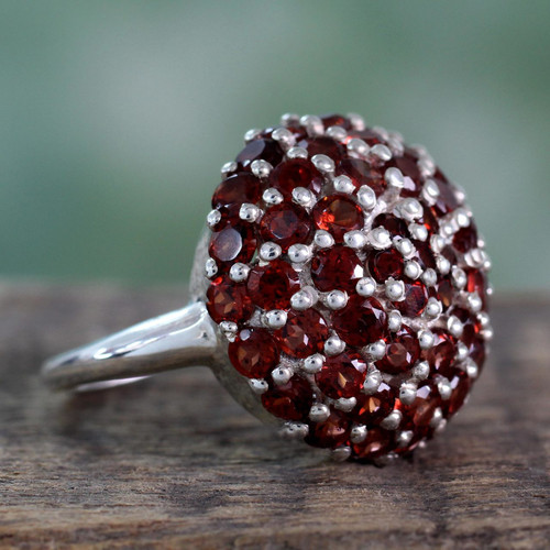 Indian Sterling Silver and Garnet Cluster Ring 'Red Geranium'