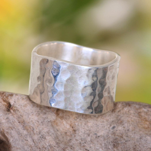 Wide Sterling Silver Band Ring from Indonesia 'Shining Waves'