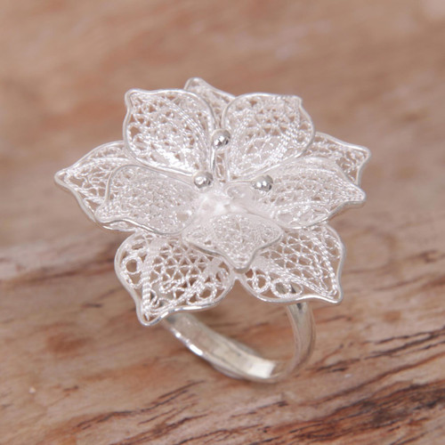Hand Made Sterling Silver Hibiscus Flower Cocktail Ring Bali 'Sterling Tropics'