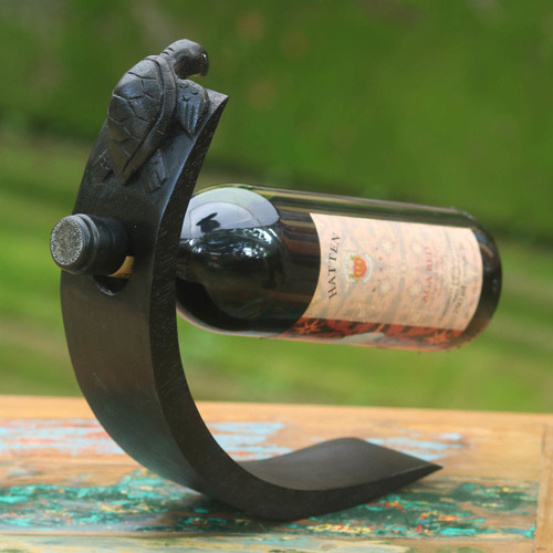 Turtle Theme Modern Wood Wine Bottle Holder from Bali 'Black Balinese Turtle'