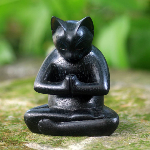 Black Cat Praying in a Yoga Pose Signed Wood Sculpture 'Black Cat Prayer'