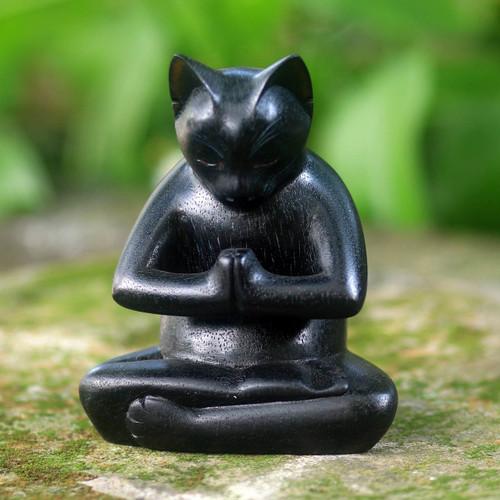 Black Cat Praying in a Yoga Pose Signed Wood Sculpture 'Black Cat Prayer'