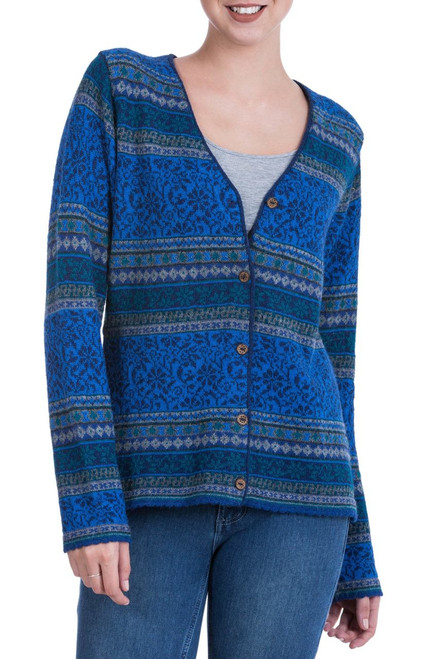 100% Alpaca Cardigan in Prussian Blue Floral from Peru 'Peruvian Passion in Blue'