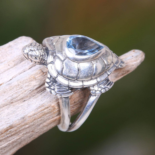 925 Sterling Silver Animal Theme Turtle Ring with Blue Topaz 'Turtle Empathy'