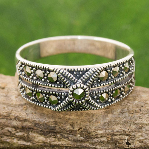 Artisan Crafted Marcasite and Sterling Silver Band Ring 'Sweet Melody'