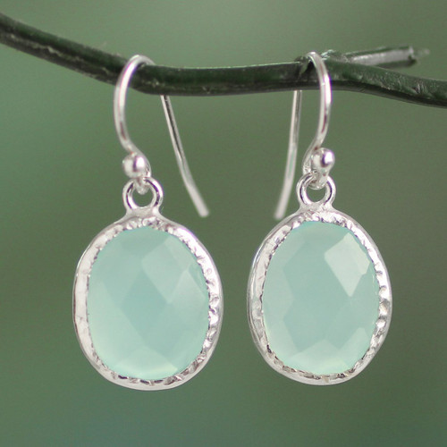 Fair Trade Aqua Chalcedony Dangle Earrings in 925 Silver 'Pale Aqua Dewdrops'