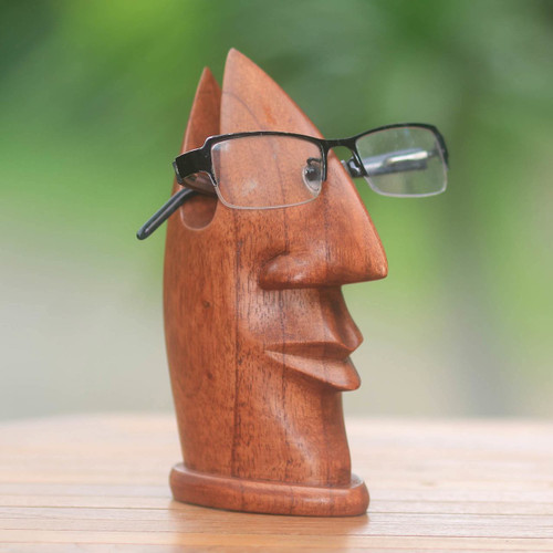Natural Wood Glasses Holder with Facial Form from Bali 'Friendly Face'
