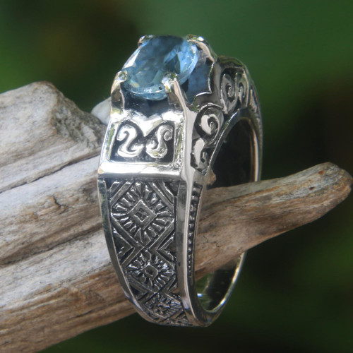 Blue Topaz Ring Crafted in Bali of Sterling Silver 'Noble Princess'
