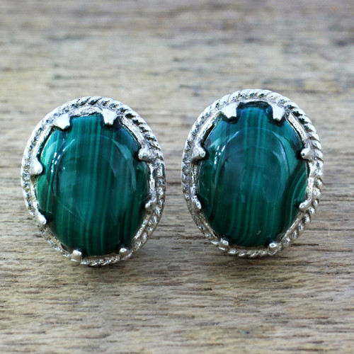 Sterling Silver and Deep Green Malachite Earrings 'Morning Forest'