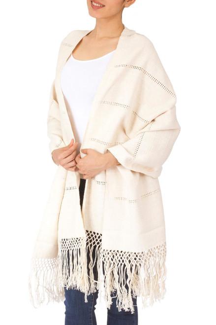 Handwoven Zapotec Shawl in Natural Unbleached Cotton 'Zapotec Whisper'