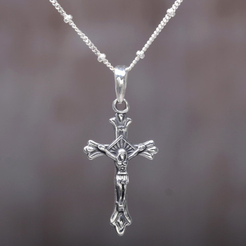 Highly Polished Sterling Silver Crucifix Pendant Necklace 'Accompanied by Christ'