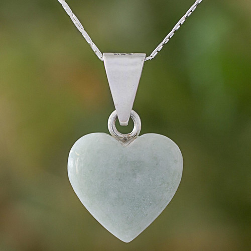 Jade Sterling Silver Heart Shape Pendant Necklace Guatemala 'Mayan Heart'