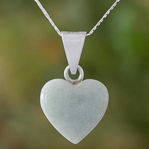 Jade Sterling Silver Heart Shape Pendant Necklace Guatemala 'Mayan Heart'