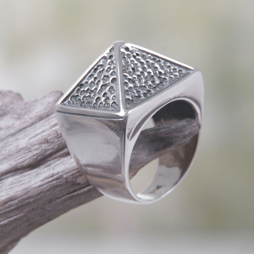 Sterling Silver Pyramid-Shaped Cocktail Ring from Bali 'Pyramid Texture'