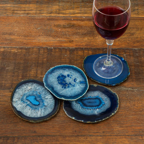 Natural Blue Agate Coasters (Set of 4) from Brazil 'Freckles'