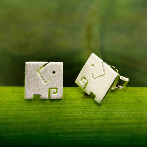 Brushed Finish Sterling Silver Elephant Stud Earrings 'Block Elephant'