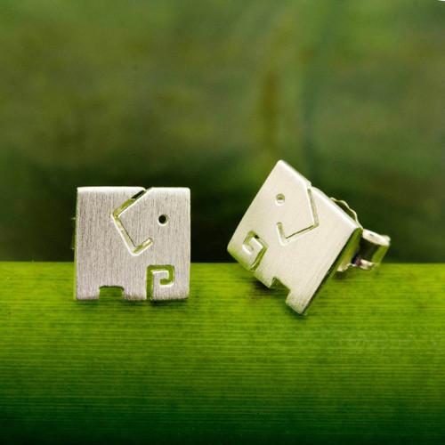 Brushed Finish Sterling Silver Elephant Stud Earrings 'Block Elephant'